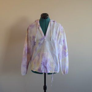 2/$20 Purple Yellow Crumple Tie-Dye Linen Hoodie